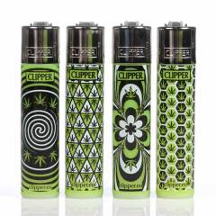 Clipper Lighters Weed Pattern