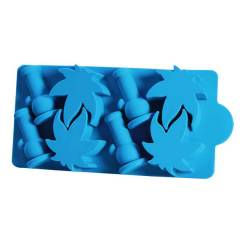 Black Leaf Silicone Ice Tray - Blue